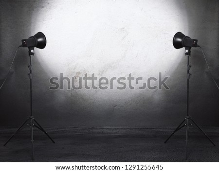 photo studio in old grunge room with concrete wall, urban background #1291255645