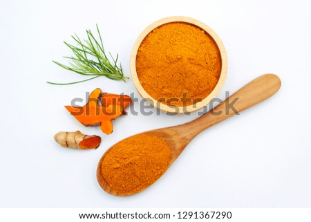 turmeric slice with powder turmeric  top view isolated on white background. #1291367290