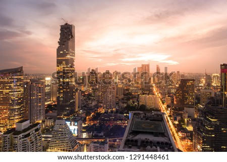 Top View of City. Cityscape with Car Traffic Light Trial at Twilight Time, Bangkok, Thailand. #1291448461