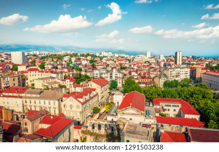 Aerial summer cityscape of Split city. Sunny morning view of Croatia, Europe. Beautiful world of Mediterranean countries. Architecture background. #1291503238