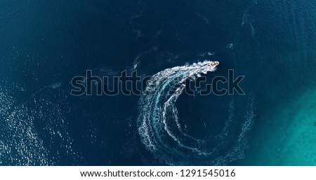 wakeboard sport in aerial view, french polynesia #1291545016