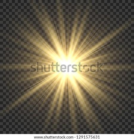 Realistic sun rays. Yellow sun ray glow abstract shine light effect starburst sbeam sunshine glowing isolated vector illustration #1291575631
