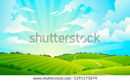 Fields landscape. Scenic green hills nature sky horizon meadow grass field rural land agriculture grassland. Summer vector background Royalty-Free Stock Photo #1291575874