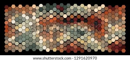 Abstract hexagonal pattern on a black background. Wavy geometric backdrop. #1291620970