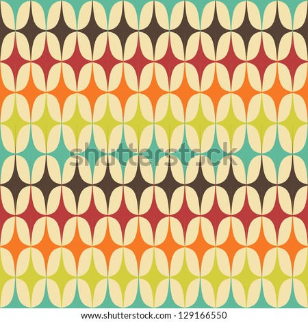 Abstract Retro Geometric seamless pattern with triangles. Vector Illustration Royalty-Free Stock Photo #129166550