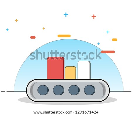 Thin line flat design of factory for sorting databases and servers for website and mobile website, easy to use. Modern vector illustration concept #1291671424