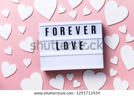 Forever Love lightbox message with white hearts on a pink background #1291712434