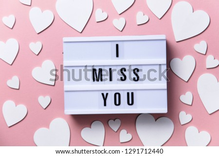 I miss you lightbox message with white hearts on a pink background #1291712440