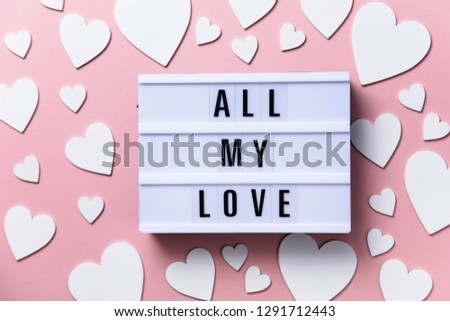 All my love lightbox message with white hearts on a pink background #1291712443
