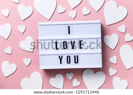 I love you lightbox message with white hearts on a pink background #1291712446