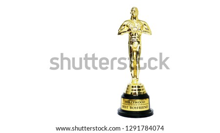 award or Hollywood golden trophy isolated on a white background. Best boyfriend sign. Postcard for a partner #1291784074