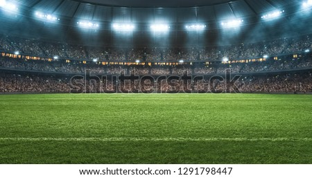 Photo of a soccer stadium at night. The stadium was made in 3d without using existing references. Royalty-Free Stock Photo #1291798447
