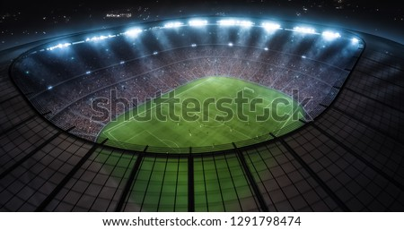 Photo of a soccer stadium with ongoing game at night. The stadium was made in 3d without using existing references. #1291798474