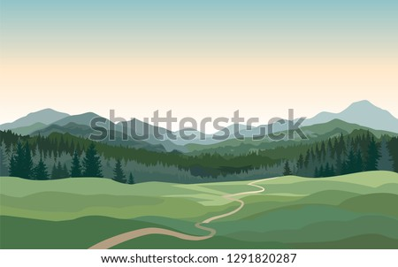 Rural landscape with mountains, hills, fields. Countryside nature skyline background #1291820287