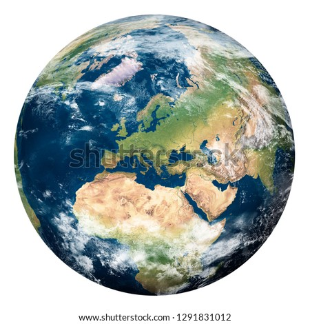 Planet Earth with clouds, Europe and part of Asia and Africa - Elements of this image furnished by NASA #1291831012