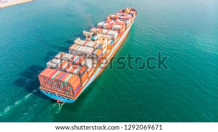 Logistics and transportation of Container Cargo ship and Cargo import/export and business logistics,Aerial view from drone #1292069671