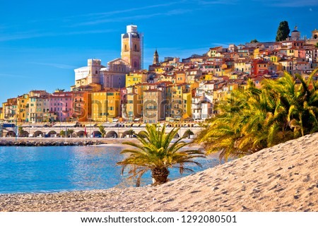 Colorful Cote d Azur town of Menton beach and architecture view, Alpes-Maritimes department in southern France Royalty-Free Stock Photo #1292080501