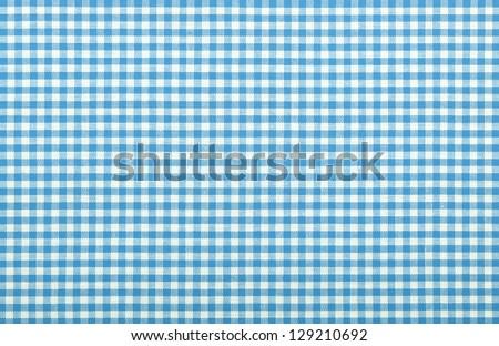 blue checkered fabric closeup , tablecloth texture