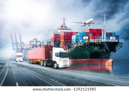Logistics import export background and transport industry of Container Cargo freight ship at sunset sky #1292121985