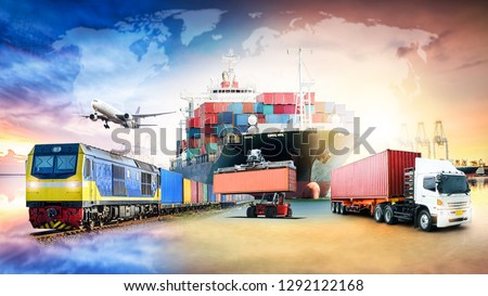 Global business logistics import export background and container cargo freight ship transport concept #1292122168