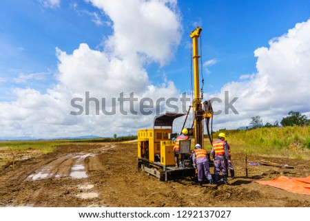 Soil sampling in the production of engineering-geological surveys. Royalty-Free Stock Photo #1292137027