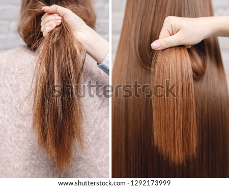 Sick, cut and healthy hair care straightening. Before and after treatment. #1292173999