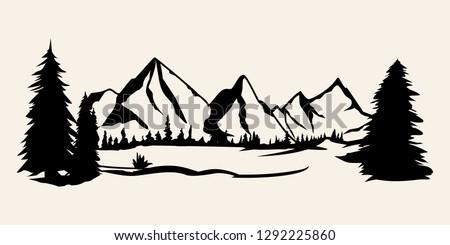 Mountains silhouettes. Mountains vector, Mountains vector of outdoor design elements, Mountain scenery, trees, pine vector, Mountain scenery.