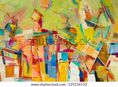 Abstract colorful oil painting on canvas Royalty-Free Stock Photo #129236510