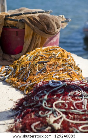 Fish nets in harbor, Croatia. #129240083