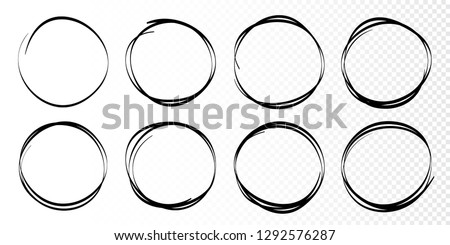 Hand drawn circles sketch frame set. Rounds scribble line circles. Doodle circular logo design elements.  Vector illustrations. #1292576287