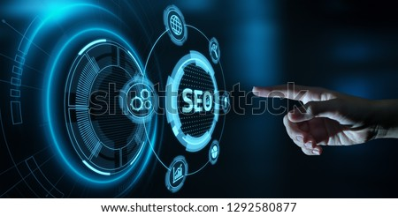 SEO Search Engine Optimization Marketing Ranking Traffic Website Internet Business Technology Concept. #1292580877