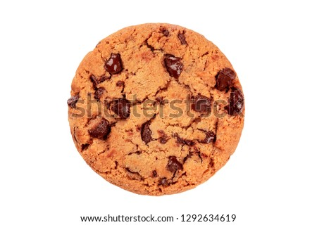 A photo of a chocolate chip cookie, isolated on a white background with a clipping path, shot from the top #1292634619