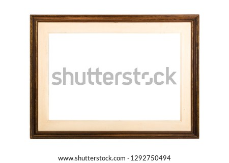 Wooden Frame. Rustic wood frame isolated on the white background - Imagem