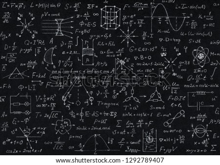 Blackboard inscribed with scientific formulas and calculations in physics, mathematics and electrical circuits. Science and education background. #1292789407