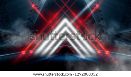 Abstract black tunnel with a light pyramid, neon triangle, smoke, wet asphalt, night view. #1292808352
