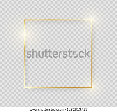 Gold shiny glowing vintage frame with shadows isolated on transparent background. Golden luxury realistic square border. Vector illustration #1292813713