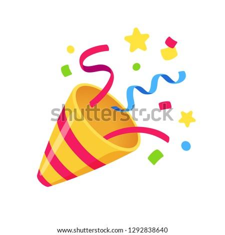 Exploding party popper with confetti, bright cartoon birthday cracker. Isolated vector illustration of celebration symbol emoji. Royalty-Free Stock Photo #1292838640
