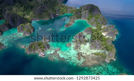 The drone looks at the Fam Islands from 500 meters high. Raja Ampat (Indonesia) #1292873425