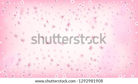 Nice Sakura Blossom Isolated Vector. Watercolor Falling 3d Petals Wedding Texture. Japanese Gradient Flowers Wallpaper. Valentine, Mother's Day Beautiful Nice Sakura Blossom Isolated on Rose #1292981908