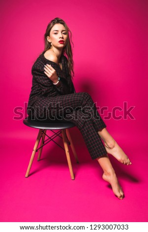Fashion Model Style. Fashionable Woman In Stylish Clothes Posing On fashion Background In Studio. #1293007033