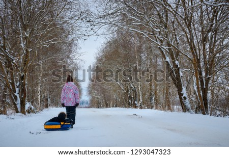 a young mother rolls a small child in the winter in the Park. Russian winter. #1293047323