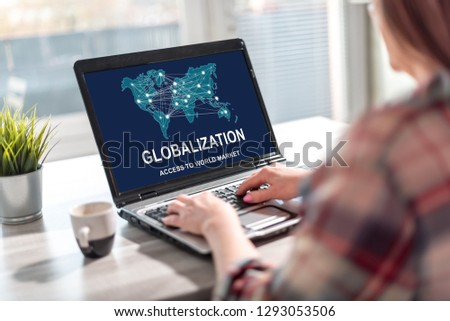 Laptop screen displaying a globalization concept #1293053506