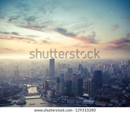 a bird's eye view of shanghai at dusk #129310280