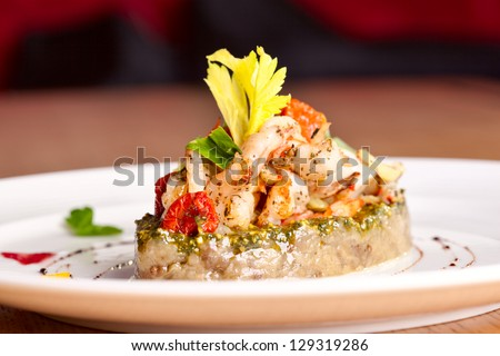 Vegetable saute with seafood #129319286