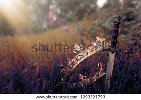 mysterious and magical photo of gold king crown and sword in the England woods or field landscape with light flare. Medieval period concept #1293321793