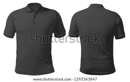 Blank collared shirt mock up template, front and back view, isolated on white, plain black t-shirt mockup. Tee design mockup presentation for print. #1293363847