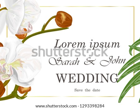 Wedding invitation with flowers orchid and palm leaves , watercolor, isolated on white. Vector Watercolour. #1293398284