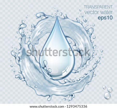 Transparent vector water splash and wave on light background #1293475336
