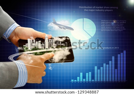 Image of businessman hands touching pad with virtual illustration against diagram background #129348887