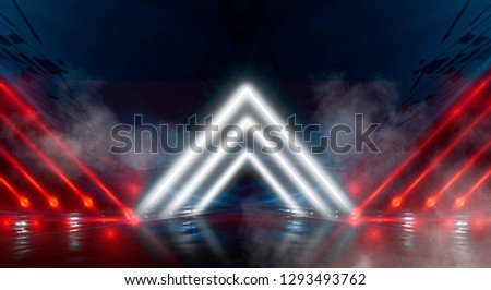 Background wall with neon lines and rays. Background dark corridor with neon light. Abstract background with lines and glow. Light element in the center, a triangle, a pyramid with neon. #1293493762